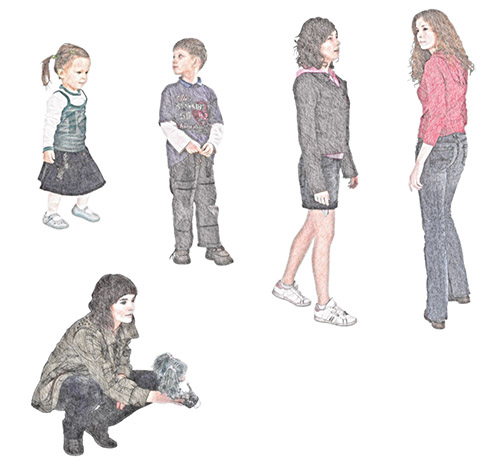 DOSCH 2D Viz-Images: Sketch - People - Family sample-image